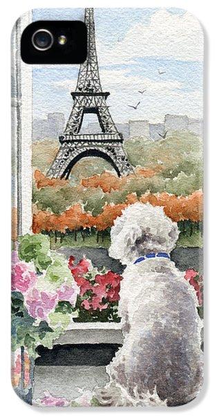 Paris iPhone 5 Case - Bichon Frise In Paris by David Rogers