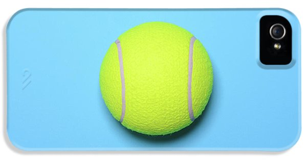 Big Tennis Ball On Blue Background - Trendy Minimal Design Top V IPhone 5 Case