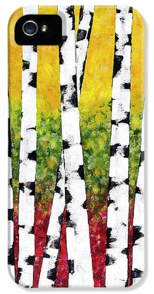 IPhone 5 Case featuring the mixed media Birch Forest Trees by Christina Rollo