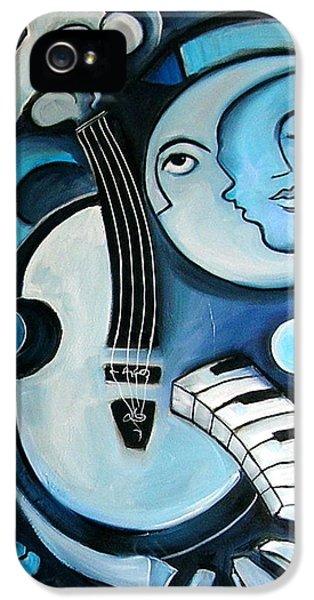Moon iPhone 5 Case - Black And Bleu by Valerie Vescovi