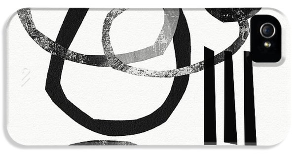Abstract iPhone 5 Case - Black And White- Abstract Art by Linda Woods