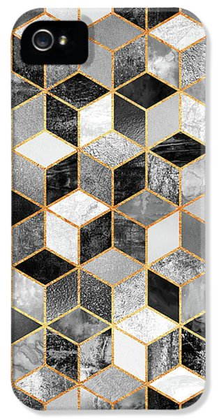iPhone 5 Case - Black And White Cubes by Elisabeth Fredriksson