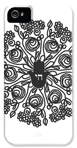 Black And White Hamsa Mandala- Art By Linda Woods IPhone 5 Case by Linda Woods