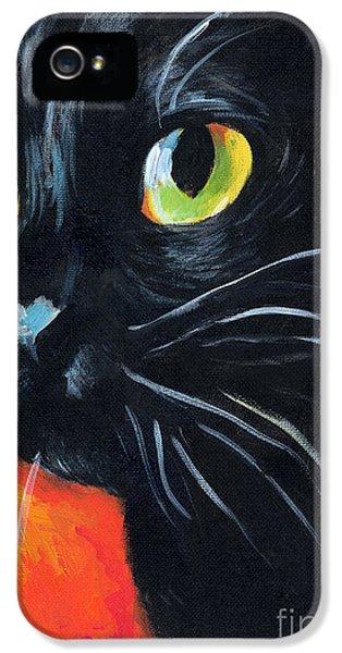 Black Cat Painting Portrait IPhone 5 Case