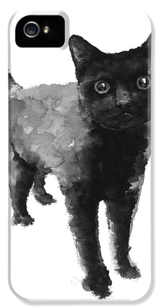 Black Cat Watercolor Painting  IPhone 5 Case