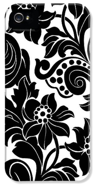 Black Floral Pattern On White With Dots IPhone 5 Case by Gillham Studios