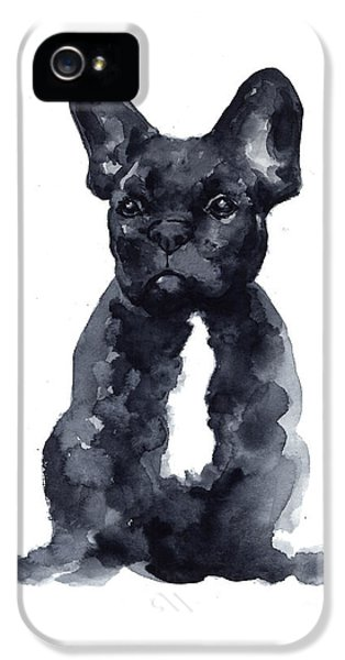 Black French Bulldog Watercolor Poster IPhone 5 Case