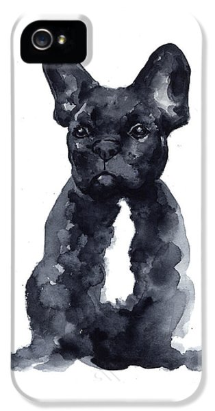 Black French Bulldog Watercolor Poster IPhone 5 / 5s Case by Joanna Szmerdt