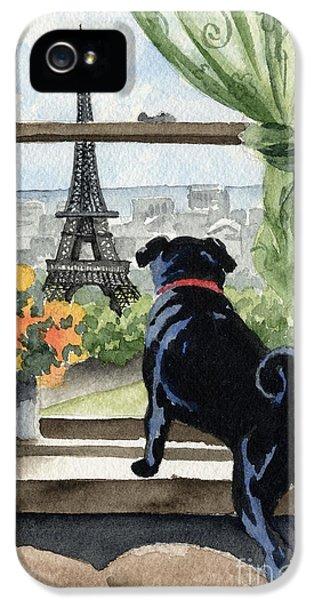 Paris iPhone 5 Case - Black Pug In Paris by David Rogers
