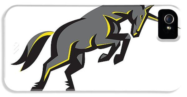 Black Unicorn Horse Charging Isolated Retro IPhone 5 Case