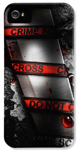 Bloody Knife Wrapped In Red Crime Scene Ribbon IPhone 5 Case