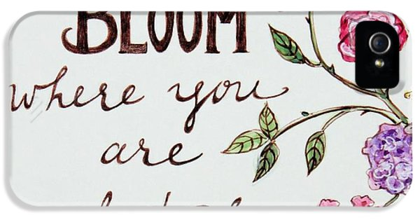 Garden iPhone 5 Case - Bloom Where You Are Planted by Elizabeth Robinette Tyndall