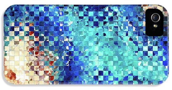 Blue Abstract Art - Pieces 2 - Sharon Cummings IPhone 5 Case by Sharon Cummings