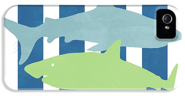 Hammerhead Shark iPhone 5 Case -  Blue And Green Sharks- Art By Linda Woods by Linda Woods
