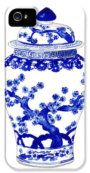 Blue And White Ginger Jar Chinoiserie 10 IPhone 5 Case by Laura Row
