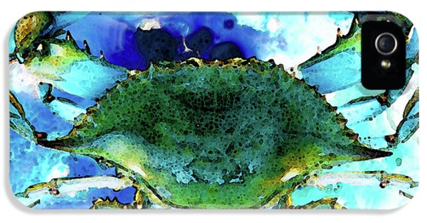 Blue Crab - Abstract Seafood Painting IPhone 5 Case by Sharon Cummings