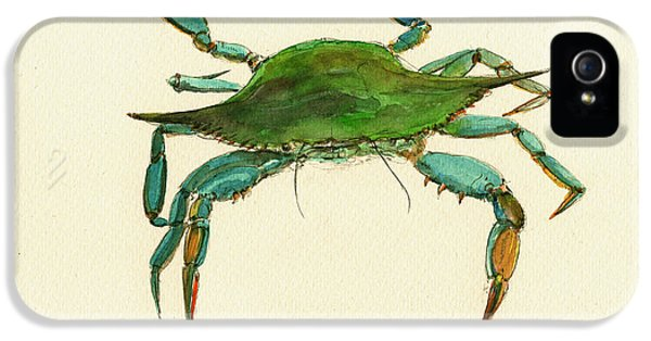 Blue Crab Painting IPhone 5 Case by Juan  Bosco