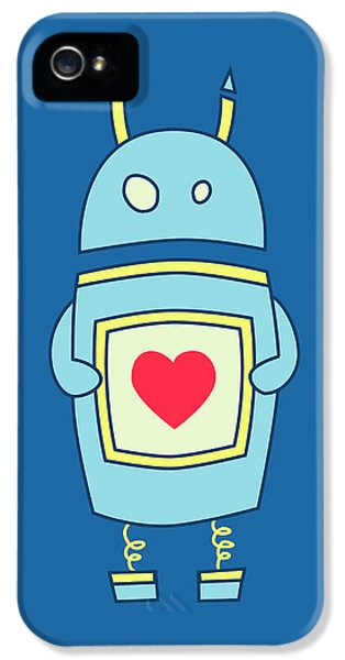 Blue Cute Clumsy Robot With Heart IPhone 5 Case by Boriana Giormova