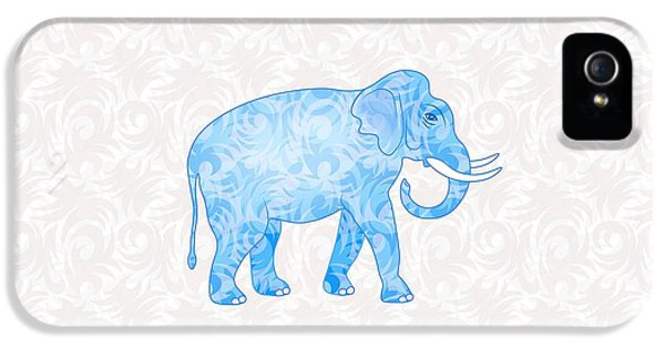 Blue Damask Elephant IPhone 5 Case by Antique Images