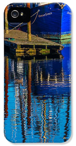 Blue Fishing Boat Reflection IPhone 5 Case by Garry Gay