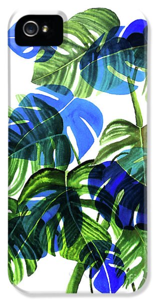 Blue Monstera IPhone 5 Case by Ana Martinez