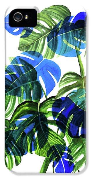 Blue Monstera IPhone 5 Case by Ana Martinez