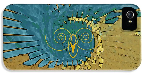 Abstract Blue Owl IPhone 5 Case by Ben and Raisa Gertsberg