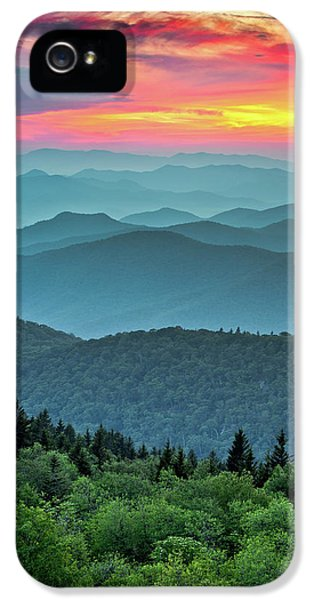 Blue Ridge Parkway Sunset - The Great Blue Yonder IPhone 5 Case