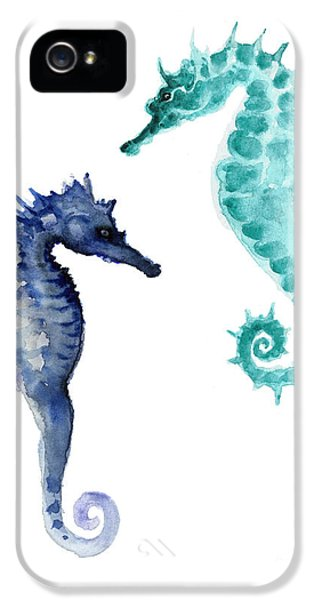 Blue Seahorses Watercolor Painting IPhone 5 Case by Joanna Szmerdt