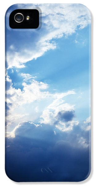 Blue Sky And Clouds With Sun Light IPhone 5 Case by Jozef Klopacka