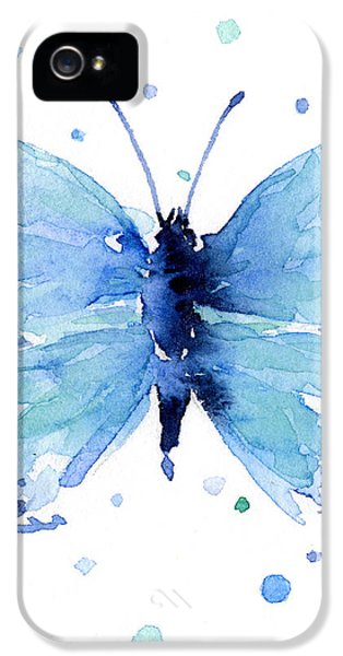 Blue Watercolor Butterfly IPhone 5 Case by Olga Shvartsur