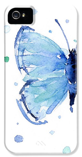 Insect iPhone 5 Case - Blue Watercolor Butterfly by Olga Shvartsur