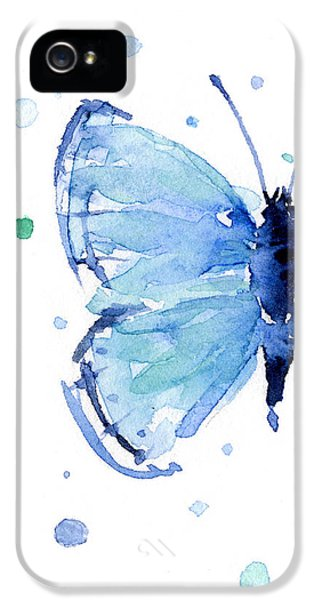 Blue Watercolor Butterfly IPhone 5 Case