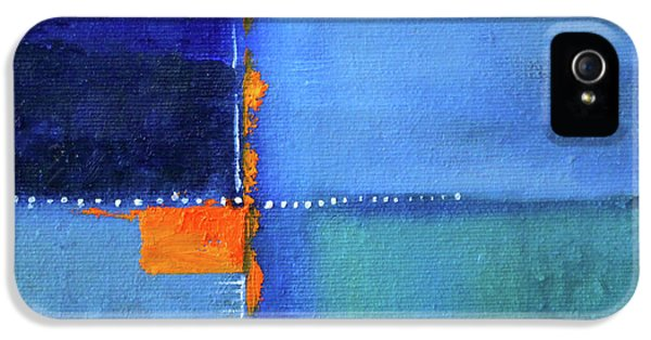 IPhone 5 Case featuring the painting Blue Window Abstract by Nancy Merkle