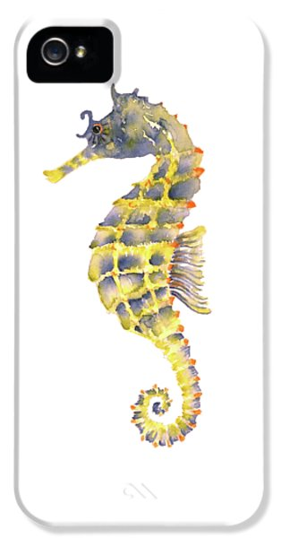 Blue Yellow Seahorse - Square IPhone 5 Case by Amy Kirkpatrick