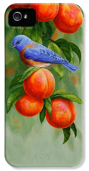 Bluebird And Peaches Iphone Case IPhone 5 Case by Crista Forest