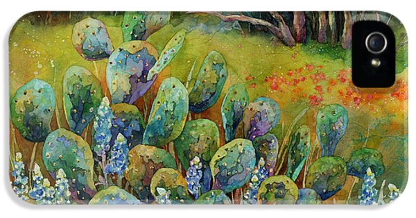 Bluebonnets iPhone 5 Case - Bluebonnets And Cactus by Hailey E Herrera