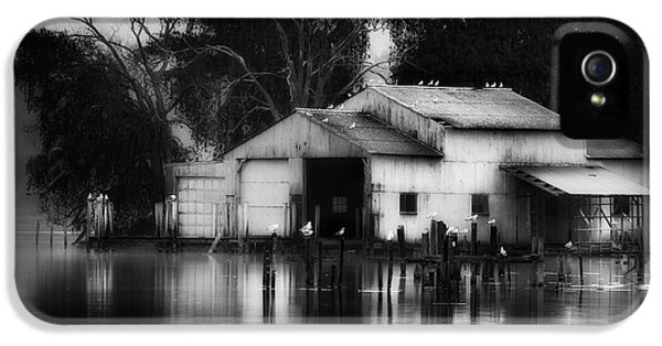 IPhone 5 Case featuring the photograph Boathouse Bw by Bill Wakeley