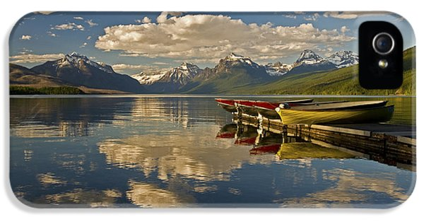 IPhone 5 Case featuring the photograph Boats At Lake Mcdonald by Gary Lengyel