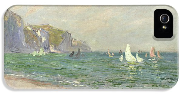 Boats iPhone 5 Cases - Boats below the Cliffs at Pourville iPhone 5 Case by Claude Monet