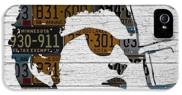 Bob Dylan Minnesota Native Recycled Vintage License Plate Portrait On White Wood IPhone 5 Case by Design Turnpike