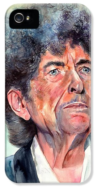 Johnny Cash iPhone 5 Case - Bob Dylan Watercolor Portrait  by Suzann's Art