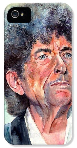 Johnny Cash iPhone 5 Case - Bob Dylan Watercolor Portrait  by Suzann's Art