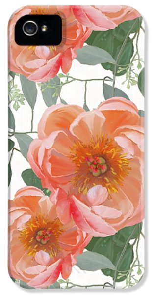 Bold Peony Seeded Eucalyptus Leaves Repeat Pattern IPhone 5 Case by Audrey Jeanne Roberts