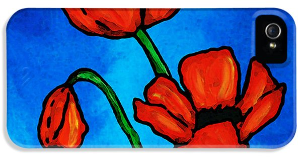 Bold Red Poppies - Colorful Flowers Art IPhone 5 Case by Sharon Cummings