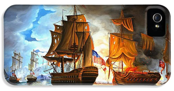 Bonhomme Richard Engaging The Serapis In Battle IPhone 5 Case by Paul Walsh