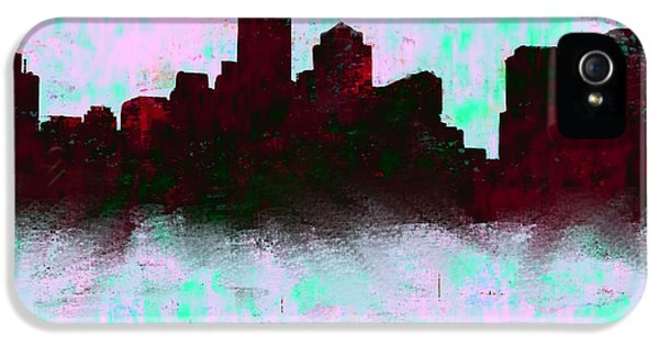 Boston Skyline Sky Blue  IPhone 5 Case by Enki Art