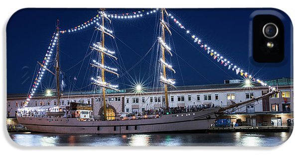 Boston Tall Ships At Night Boston Ma IPhone 5 Case by Toby McGuire
