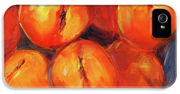 IPhone 5 Case featuring the painting Bowl Of Peaches Still Life by Nancy Merkle