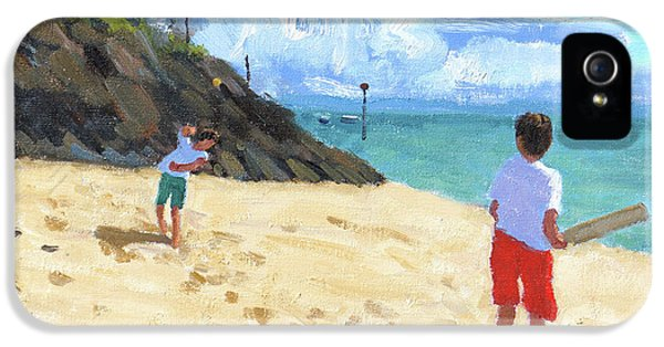 Cricket iPhone 5 Case - Bowling And Batting, Abersoch by Andrew Macara